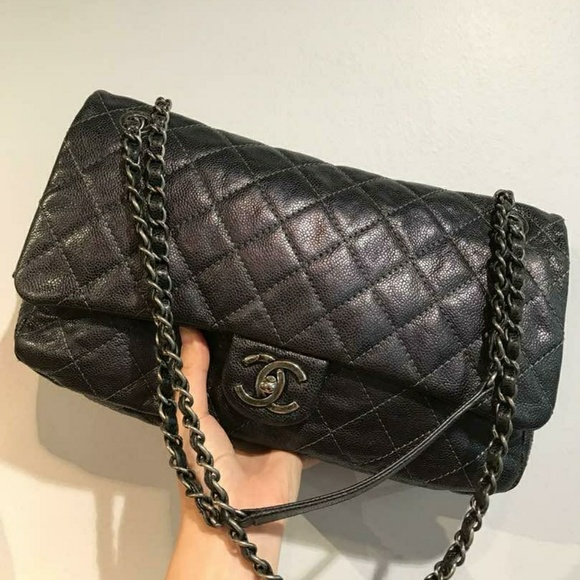 c08f51e1be8e CHANEL Bags | Sold Jumbo Greyblack Easy Flap | Poshmark